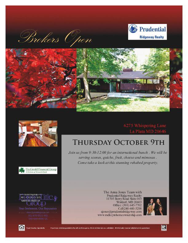 Broker S Open Brunch Thursday October 9th